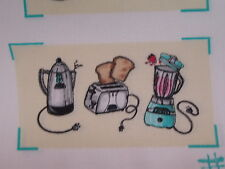"""fabric panel, 6 sets of oven mitt tops,RETRO """"NIFTY FIFTIES"""" toaster blender"""