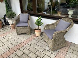 2 Rattan Sessel anthrazit mit Sitzkissen