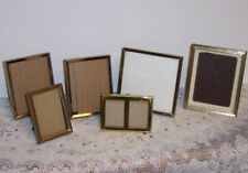 Vintage Set of 6 Gold Metal Table Top Picture Frames Easel Back or Hanging
