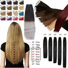 8A 40-66CM EXTENSIONS DE REMY CHEVEUX PU TAPE IN BANDE ADHESIVE NATURELS 30-70g