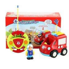 Cartoon R/C Fire Truck Car Radio Control Toy For Toddlers Lightning Music Sound