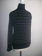 Zara HIGH  NECK BLACK WITH WHITE STRIPES SWEATER Pullover Jumper Size S UK 8-10