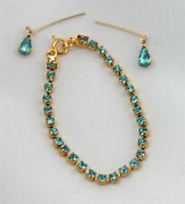 "For 18-22"" Miss Revlon Doll: Aqua Rhinestone Jewelry Set Necklace Earrings"