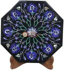 """12""""x12"""" Marble Black Wall Tile Lapis Marqutery Floral Art Decorative Living Room"""