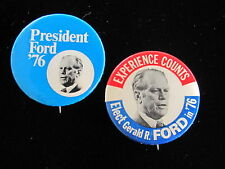 "1976 Gerald Ford for President (2) 1 3/4"" Pinback Buttons Experience Counts"