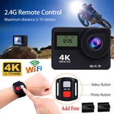 4K Wifi Sports Camera Ultra HD Helmet Mini DV Action Remote Cam W/Extra Battery