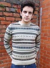 Da Uomo Fairisle Maglione Norvegese Knitwear Sweater Snowflake NUOVO XL
