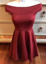 Boohoo Off The Shoulder Skater Dress Maroon Burgundy Size US 2