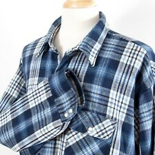 FiveBrother Plaid Flannel Insulated Quilted Pearl Snap Long Sleeve Shirt Men 4XL