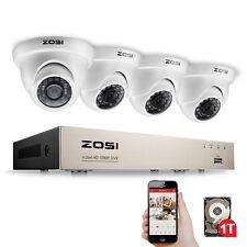 ZOSI 1080P 4CH TVI DVR HD 2MP Caméra Surveillance CCTV Système Caméra Blanche IR