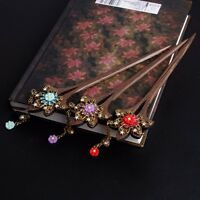 Stylish Vintage Women Wooden Hair Stick Pin Handmade Rhinestone Flower Wood 1pc
