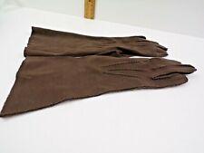 vtg ladies dark brown opera gloves 100% English Double-Woven Cotton Wpl 8974