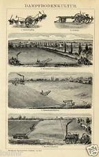 1892= ANTICHI TRATTORI A VAPORE = Agricoltura = STAMPA Antica