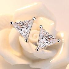 Real 925 Silver Women Triangle Aaaa Zircon Stud Earrings Fine Fashion Jewelry