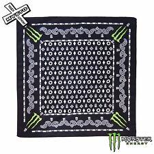 MONSTER Energy Bandana Sciarpa Testa Collo Indossare Paisley Nero con logo Green Artiglio