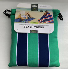 NEW Travelon Striped Blue & Green Microfiber Terry Cloth Travel Beach Pool Towel