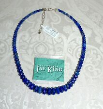 NIB $225 JAY KING LAPIS Rhondelle Graduated Beaded Necklace Sterling Caps