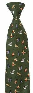 Mixed Game Birds Silk Neck tie Mens Shooting Gift