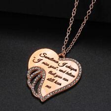 YOU Angel Wing Necklace Rhinestone Heart Shape Pendant Fashion Jewelry Gifts