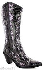 NEW HELENS HEART PEWTER GREY SEQUIN COWBOY BOOTS SIZE 5, 6, 7, 8, 9, 10, 11, 12
