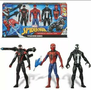 MARVEL Spider-Man Titan Hero Series + Blast Gear Venom, Miles Morales, Spiderman