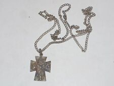 "Vintage 26"" Necklace with 1"" Celtic Cross Chapel Sterling Medal I am a Catholic"