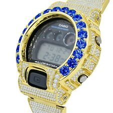 Custom Authentic Casio G-Shock DW 6900 Blue Sapphire Solitaire Gold Tone Watch