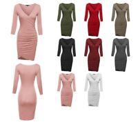 FashionOutfit Women's V-Neck 3/4 Sleeves Shirring Wrap Body-Con Mini Dress