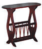 Amish Furniture - Oval Top Oak Accent Table with Storage Rack - Made in USA