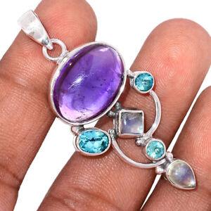 Amethyst, Moonstone & Blue Topaz 925 Sterling Silver Pendant Jewelry BP107489