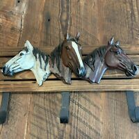 Horse Head Wooden Coat Rack Hat Rack Key Hook Towel Western Cowboy Rustic