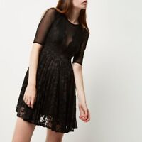 RRP £50, NEW River island Black mesh and lace skater dress, SIZES 8-16