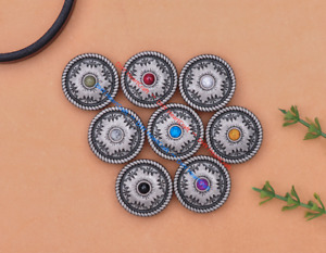 10X 25MM Silver Tone Tribal Snowflake Flower Leather Craft Turquoise Conchos Set
