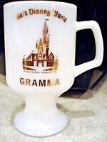 "VTG 1980 s Walt Disney World Gramma Milk Glass Pedestal Coffee Mug 5 1/2"" GOLD"