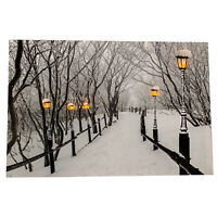 5 LED Light Up HD Winter Boardwalk Snow Scene Wall Home Decor Canvas Picture Art