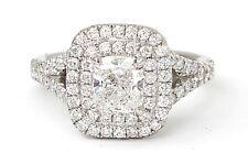 Platinum 1.00 Carat Round Diamond Double Halo Engagement Ring