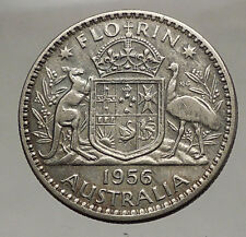 1956 AUSTRALIA - UK Queen Elizabeth - SILVER FLORIN - Coin Coat-of-Arms i57077