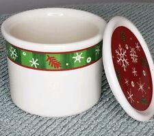Longaberger Pottery Holiday Snowflake Pint Crock W/ Holiday Snowflake Coaster.