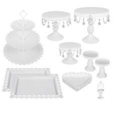 9Pcs Set Vintage Crystal Metal Cake Holder Cupcake Stand Wedding Party