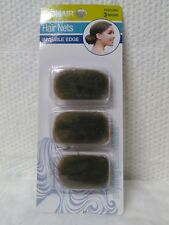 CONAIR 3 PIECE PACK OF BROWN HAIR NETS STAYS IN PLACE INVISIBLE EDGE 55332WG