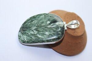 Seraphinite stone handmade silver plated pendant