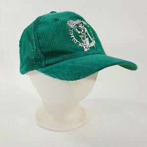 VINTAGE 1980s 1990s GREEN CORDUROY EMBROIDERED SNAPBACK HAT - BOSTON CELTICS