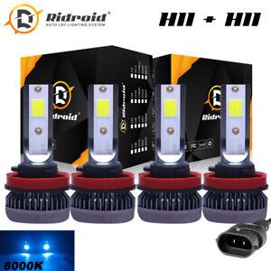 2Pair 8000K Ice Blue H9 H11 High + Low Beam Combo 240W LED Headlight Bulbs Kit