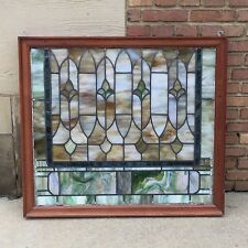"ANTQ Stained Glass Window Original Glass Wood Frame  34"" W x 38"" H Near Square"