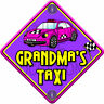 NEW Purple ~ IMPACT GRANDMA'S TAXI ~ Novelty Baby on Board Car Window Sign