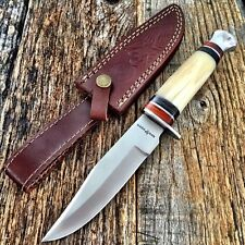 """RED DEER Hunting Camping WHITE BONE 10"""" Survival Knife New w/Sheath Military -T"""