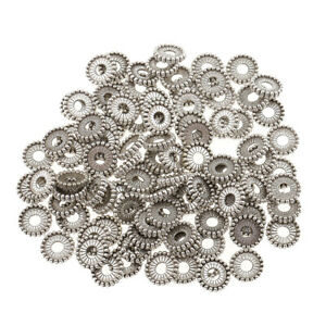 100pcs silberne Rondelle-Distanzscheiben-Perlen