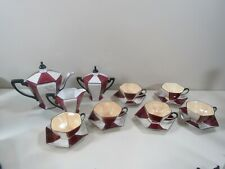 17 pc. Noritake Deco Iridescent Tea Set Teapot,Creamer Sugar, 6 Cups and Saucers