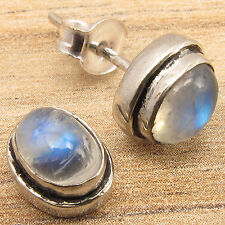 Natural RAINBOW MOONSTONE Cabochon Gems Little Stud Earrings 925 Silver Plated
