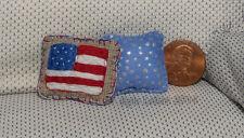 USA flag America Dollhouse Miniature Throw Pillows - Artist Made by Kyle Lefort